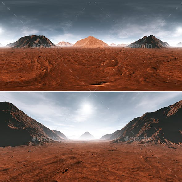 360 Equirectangular projection of Mars sunset. Martian landscape, HDRI environment map