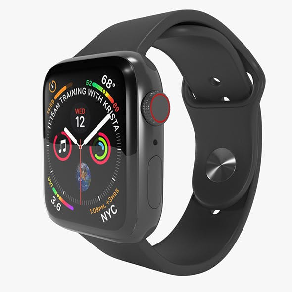 Apple Watch 4 Series Space Gray Aluminum Case with Black Sport Band - 3DOcean Item for Sale