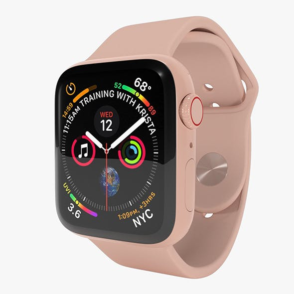 Apple Watch Series 4 Gold Aluminum Case with Pink Sand Sport Band - 3DOcean Item for Sale