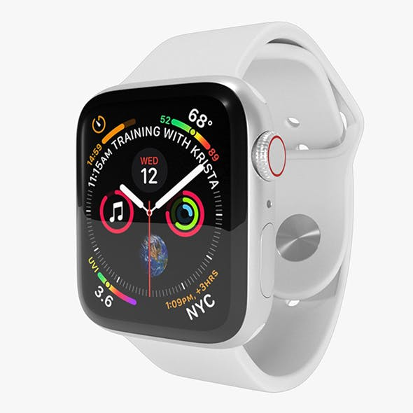 Apple Watch Series 4 Silver Aluminum Case with White Sport Band - 3DOcean Item for Sale