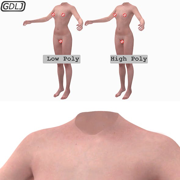 Female Body Low Poly - High Poly