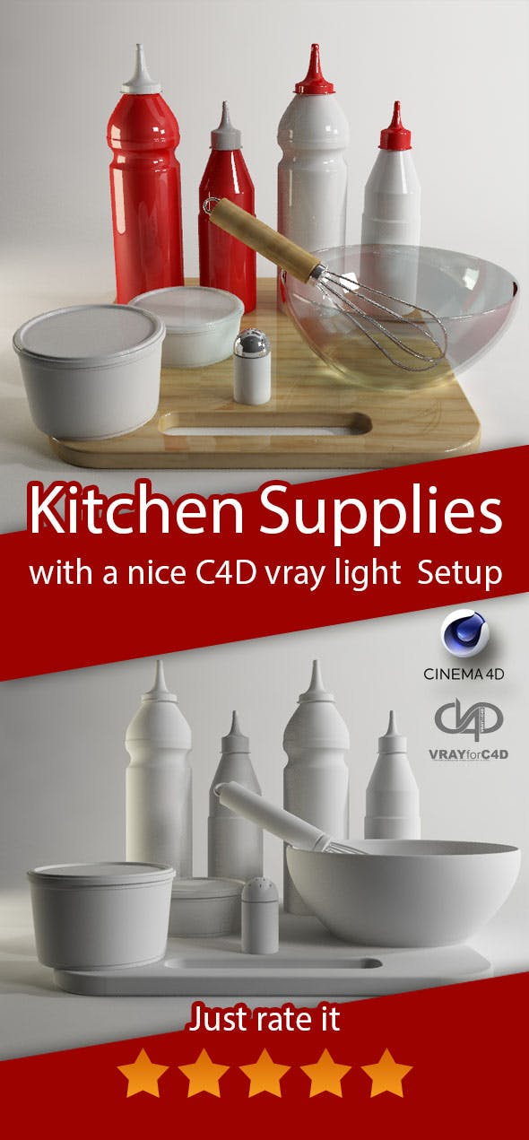 Kitchen Supplies in cinema4d&vray - 3DOcean Item for Sale