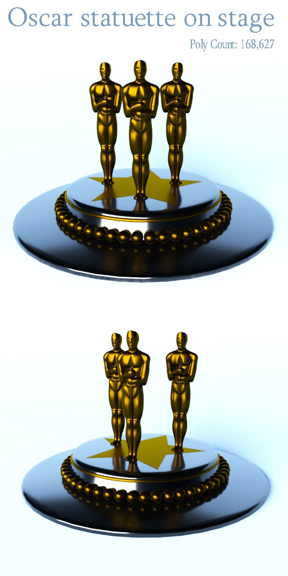 Oscar statuette on stage - 3DOcean Item for Sale