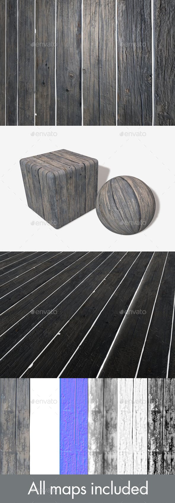 Old Wooden Planks Seamless Texture - 3DOcean Item for Sale