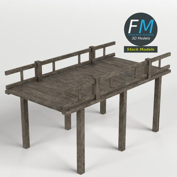 Wooden pier with railing - 3DOcean Item for Sale