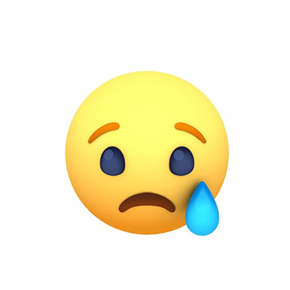 Animated Facebook Sad Reaction Button