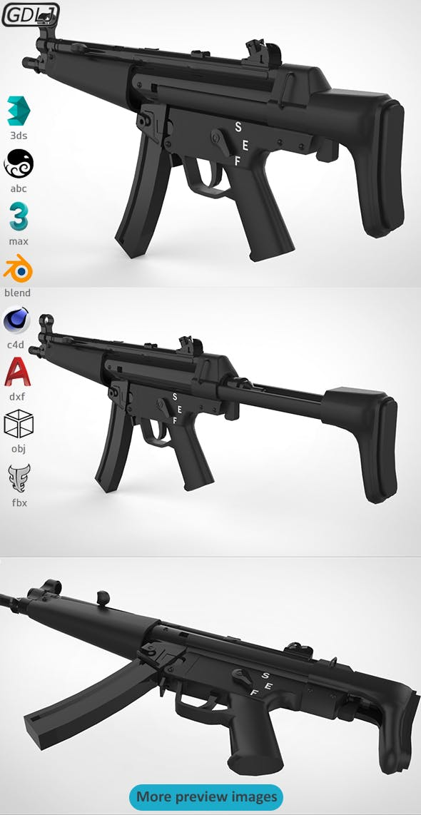 MP5 - Realistic model - 3DOcean Item for Sale