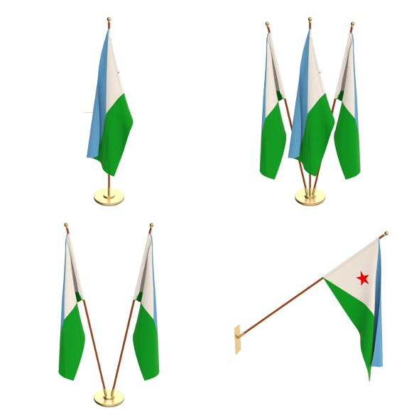 Djibouti Flag Pack - 3DOcean Item for Sale