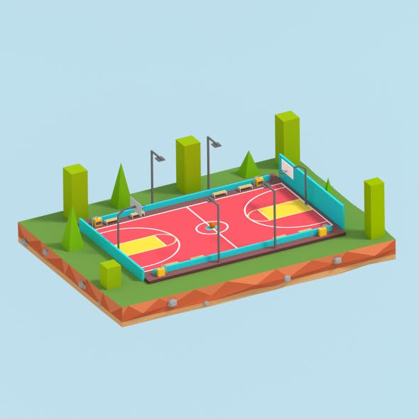 Cartoon Low Poly Basketball Court Low