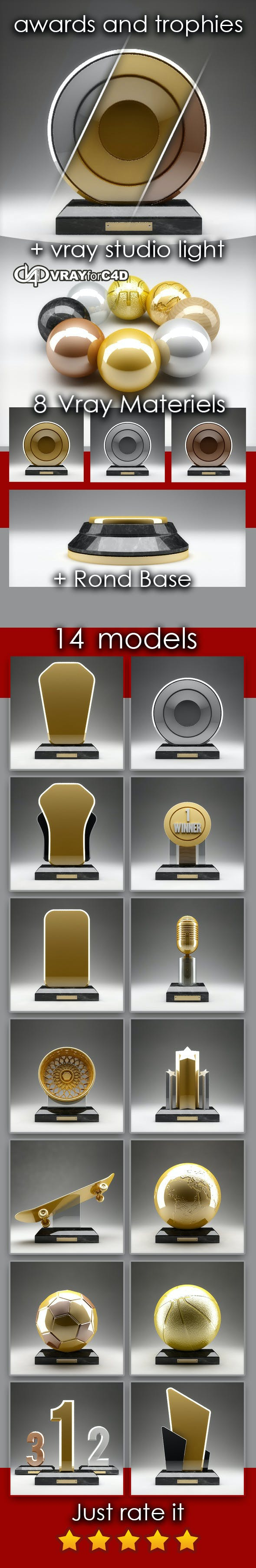 15 awards and trophies in c4d and vray - 3DOcean Item for Sale