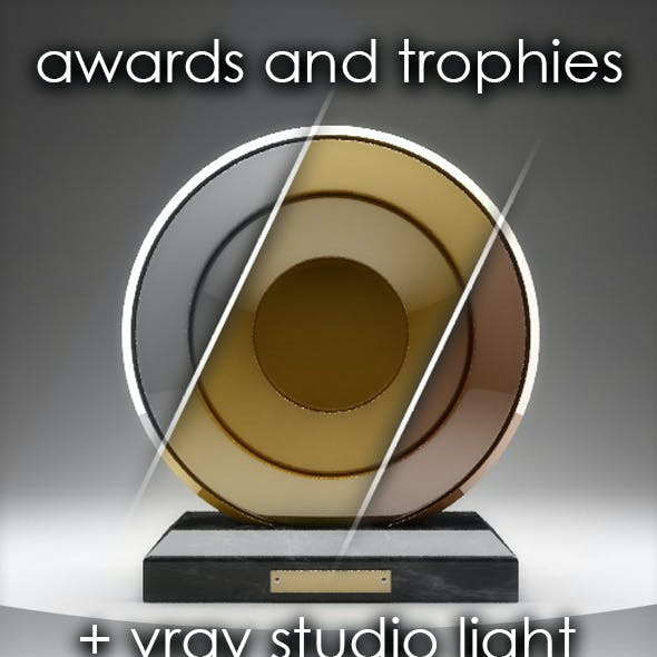 15 awards and trophies in c4d and vray