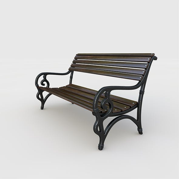 Park bench, forged style with red wood.