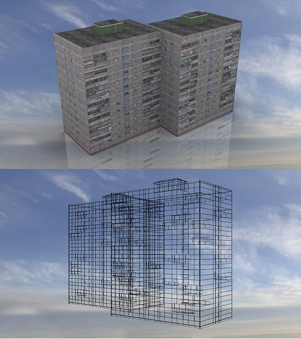 Russian Apartment 14 Storey Building - 3DOcean Item for Sale