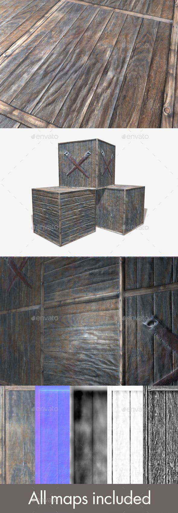 3 Wooden Crate Seamless Textures - 3DOcean Item for Sale