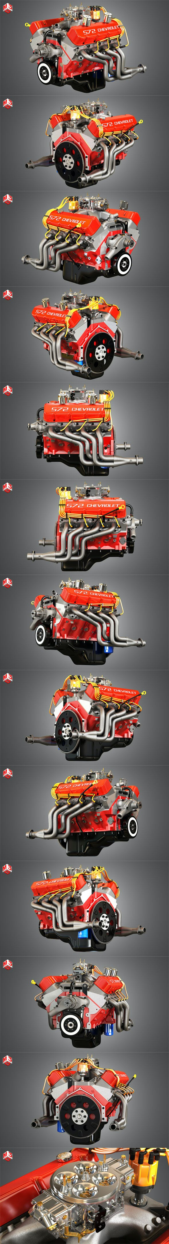 Chevrolet 572 V8 Muscle Engine 3d model - 3DOcean Item for Sale