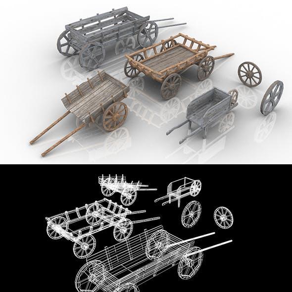 Set of 4 Medieval Village Wooden Carts