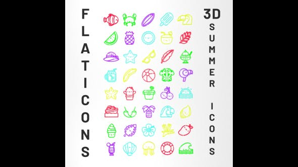 3D Flaticon Summer Icons - 3DOcean Item for Sale