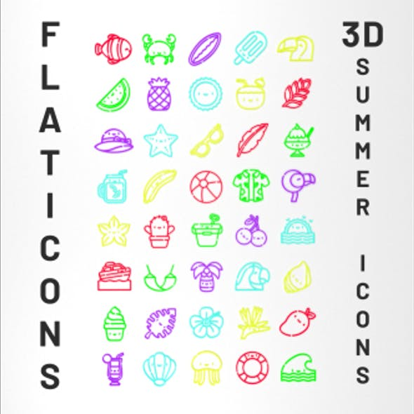 3D Flaticon Summer Icons