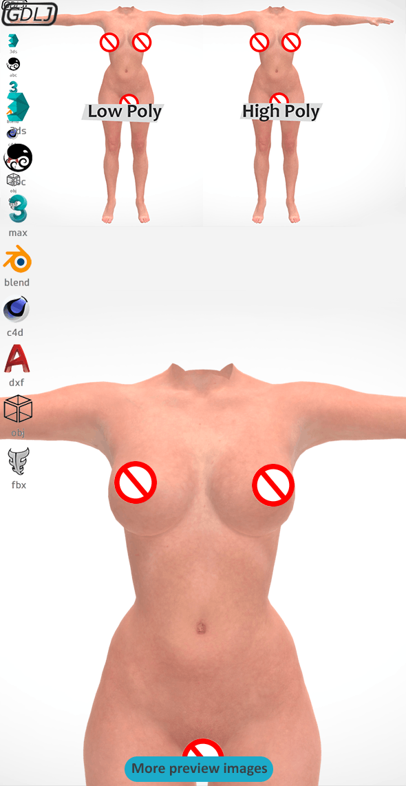 Female Body Low Poly - High Poly - 3DOcean Item for Sale