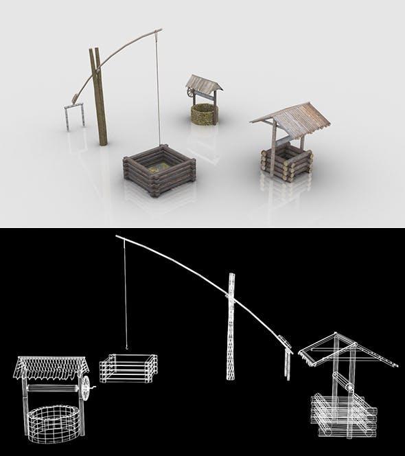 Medieval Village Wells Collection - 3DOcean Item for Sale