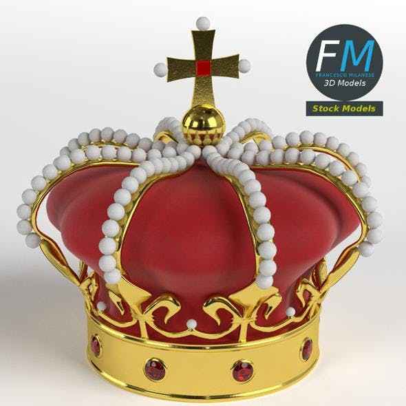 Imperial crown with orb and cross - 3DOcean Item for Sale