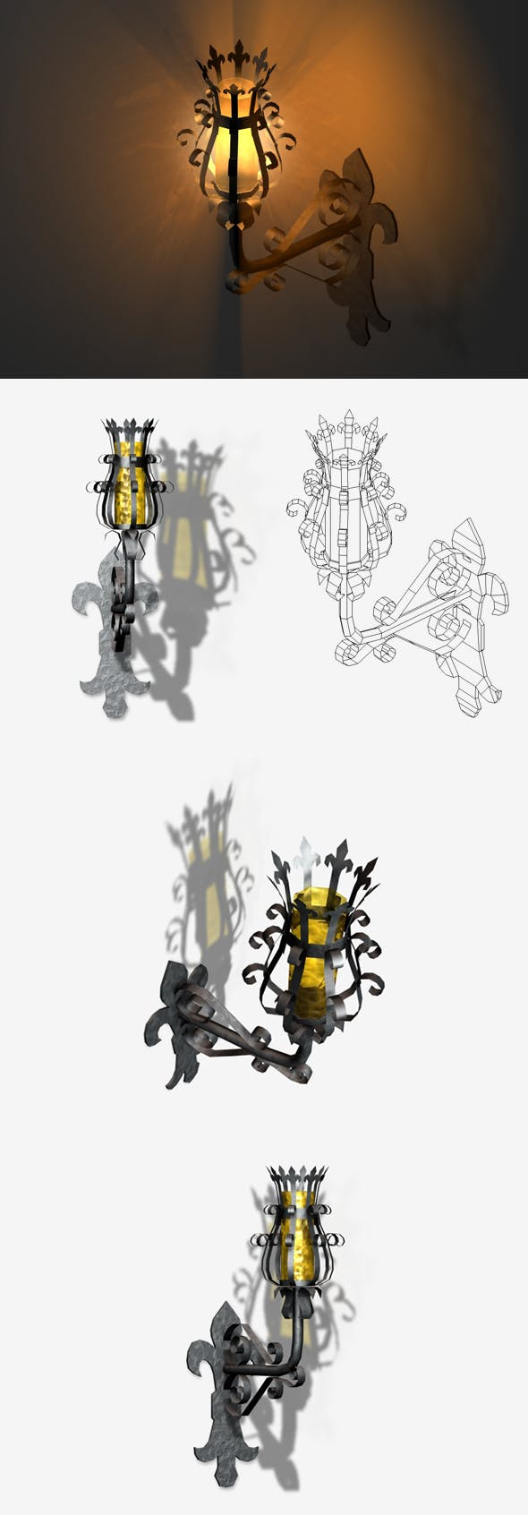 Medieval Lamp Low Poly - 3DOcean Item for Sale