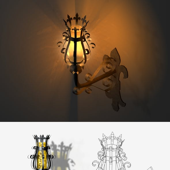 Medieval Lamp Low Poly