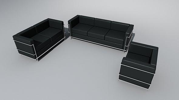 Corbusier armchair, loveseat & sofa set - 3DOcean Item for Sale
