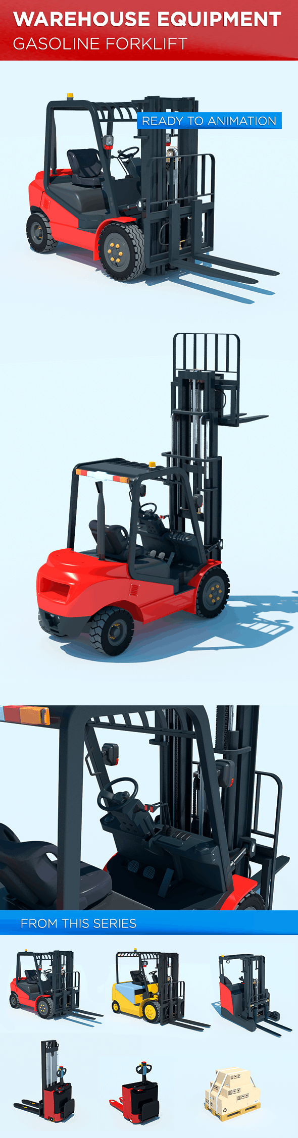 Warehouse Equipment: Gasoline Forklift - 3DOcean Item for Sale