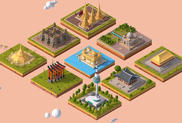 Cartoon Low Poly Asia Landmarks Pack - 3DOcean Item for Sale