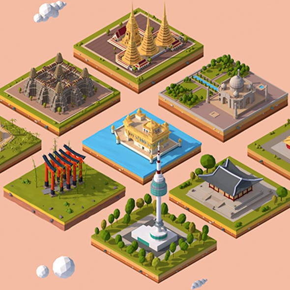 Cartoon Low Poly Asia Landmarks Pack