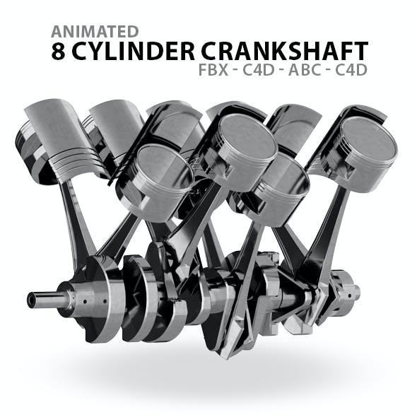 Animated V8 Crankshaft 3D Model