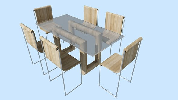 Dining table + chairs - 3DOcean Item for Sale