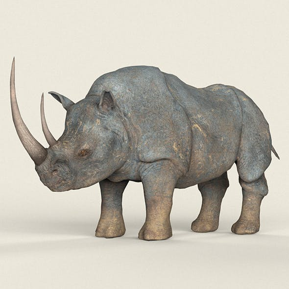 Low poly Realistic Rhino