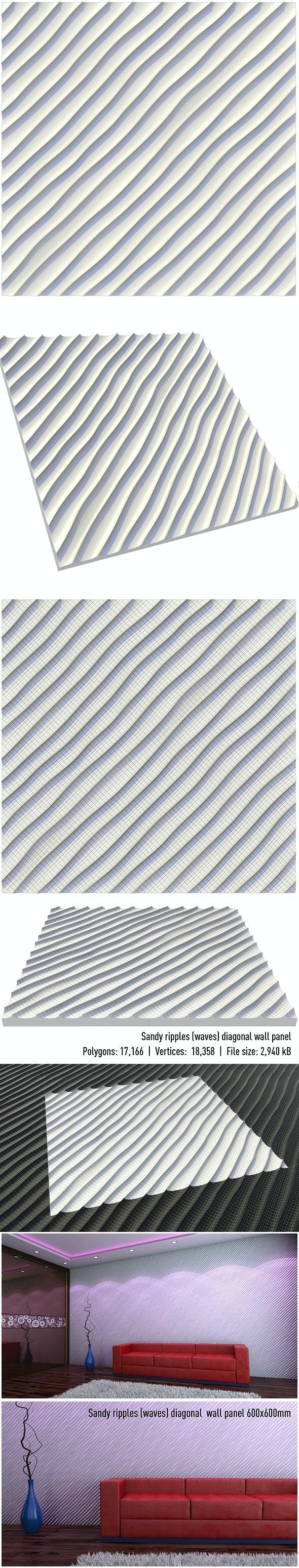 wall panel sandy ripples (waves) diagonal - 3DOcean Item for Sale