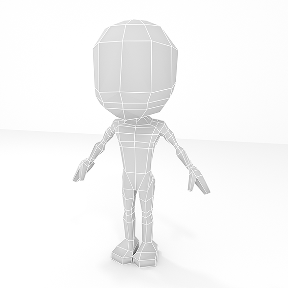 Low poly base mesh male cartoon