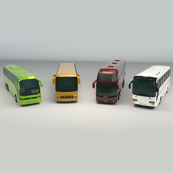 Low Poly Bus Pack 02 - 3DOcean Item for Sale