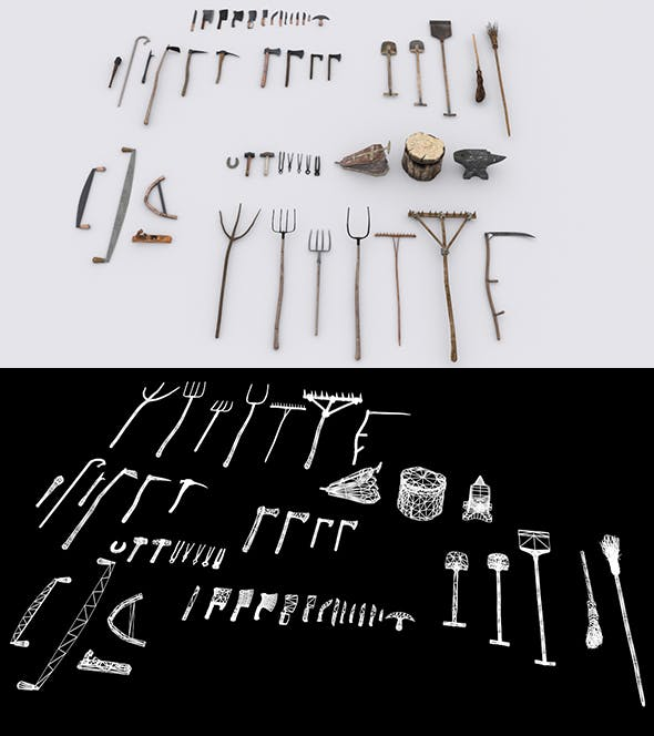Collection of 51 Medieval Village Hand Tools - 3DOcean Item for Sale