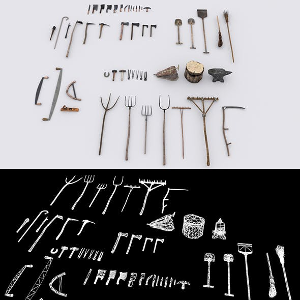 Collection of 51 Medieval Village Hand Tools