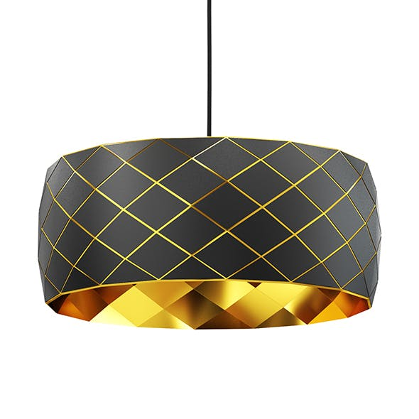 Black and Gold Hanging Lamp 3D Model - 3DOcean Item for Sale