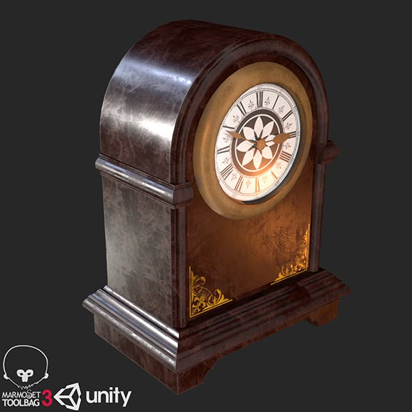 Retro Vintage Table Clock PBR - 3DOcean Item for Sale