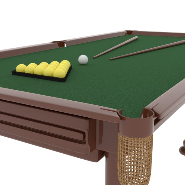 Billiard with Balls and Cue - 3DOcean Item for Sale
