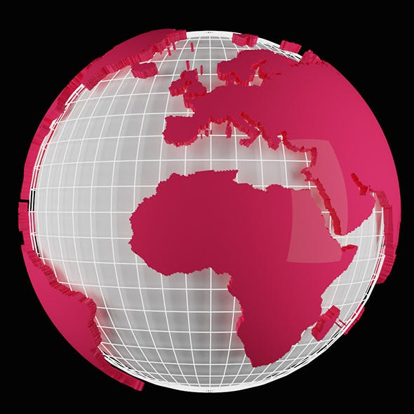 Planet Earth 3D Extruded  Globe