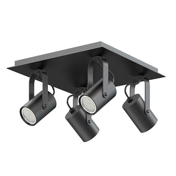 Black Quadruple Lights 3D Model