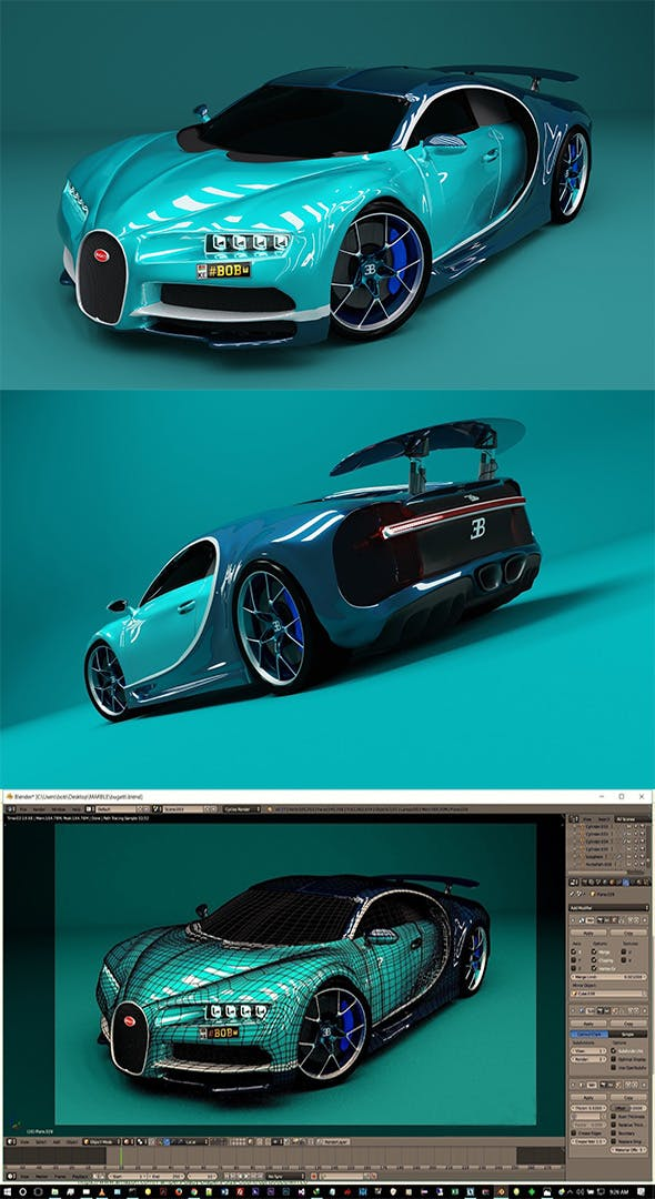 car Bugatti Chiron - 3DOcean Item for Sale