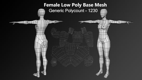 Human Female Low Poly Base Mesh - 3DOcean Item for Sale