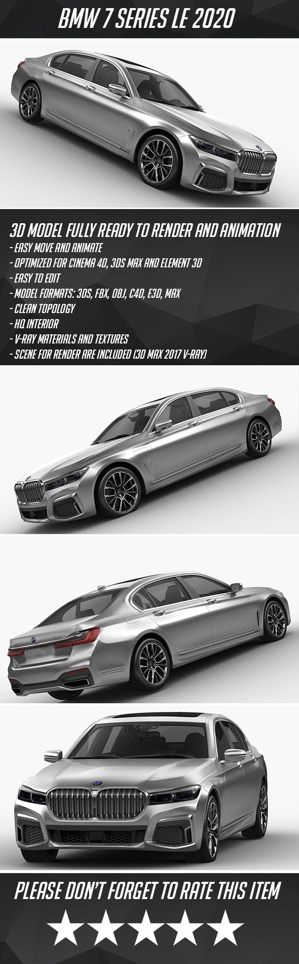 BMW 7 series LE 2020 - 3DOcean Item for Sale