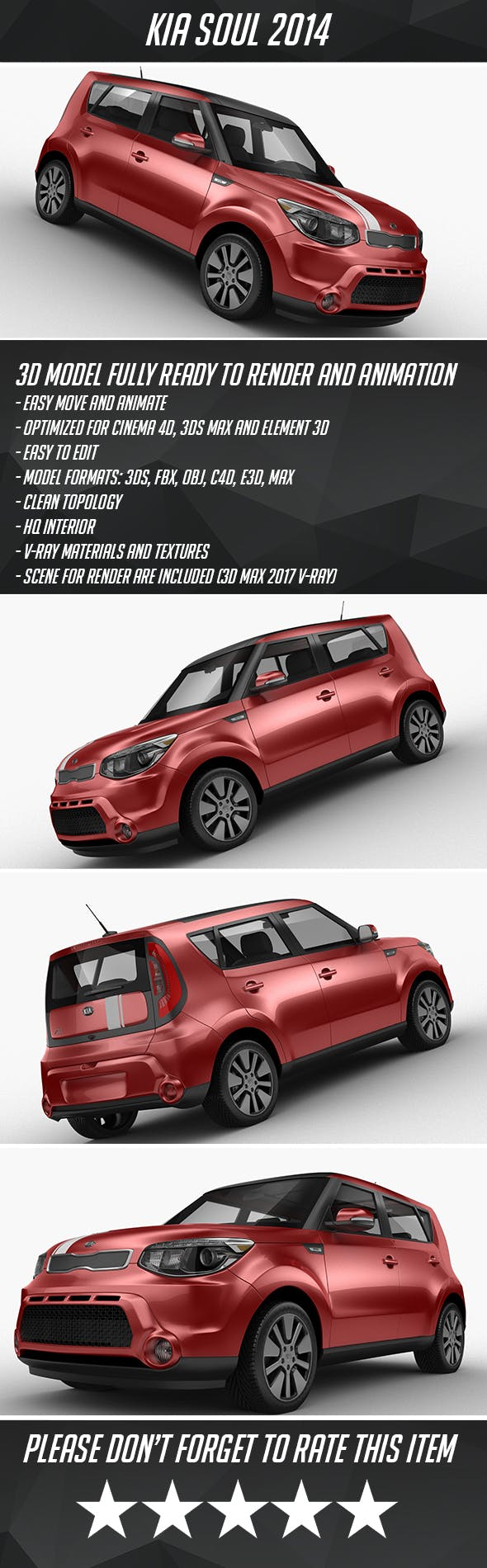 Kia Soul 2014 - 3DOcean Item for Sale