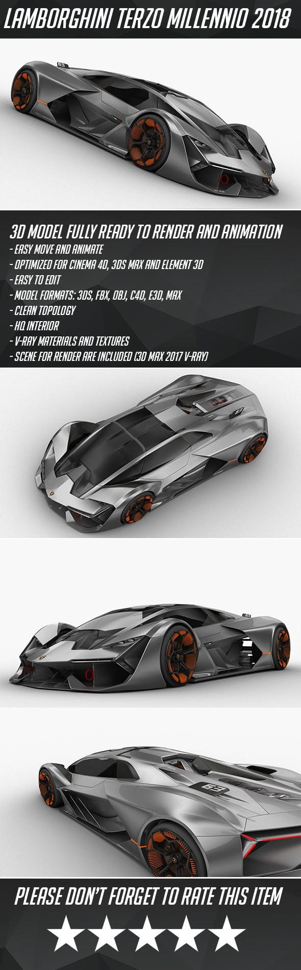 Lamborghini Terzo Millennio HQ interior 2018 - 3DOcean Item for Sale
