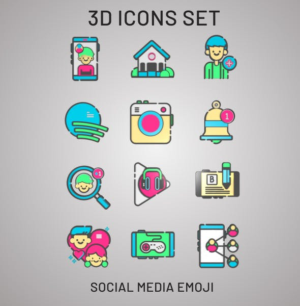 3D Social Media & Web Icons - 3DOcean Item for Sale